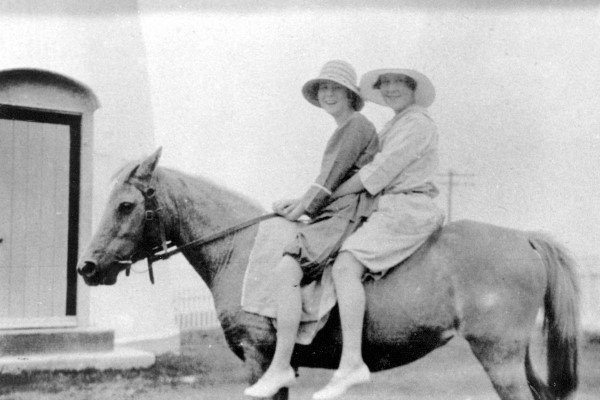 Phyllis Birrell and Claire Bryne on a pony at Caloundra Lighthouse, Canberra Terrace, 1927